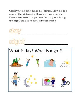 Vocabulary Day Night Classifying Sorting #9 Following Directions Emergent Reader