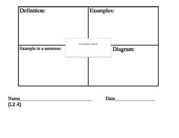 Vocabulary Definition Graphic Organizer