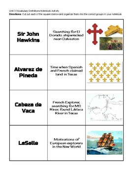 Vocabulary Definition Matching Cards Unit 03 Exploration and Colonization