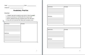 Vocabulary Definition, Sentence, and Picture Practice Template