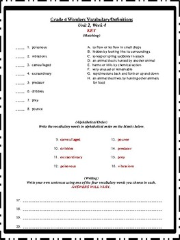 Wonders Vocabulary, Definitions, Matching, Alphabetical Order-4th Gr. Units 1-6
