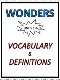 Wonders Vocabulary Definitions/Matching/Alphabetical Order