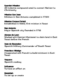 Vocabulary Definitions Unit 04 Spanish Colonization