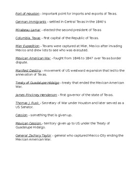 Vocabulary Definitions Unit 07 Republic and Early Statehood