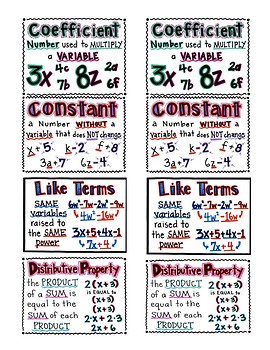 Vocabulary Desk Toppers/ Handouts Coefficient Like Terms Constant