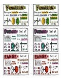 Vocabulary Desk Toppers/ Handouts Functions/Domain/Range