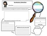Vocabulary Detective Dictionary Skills for New Vocabulary Graphic Organizer