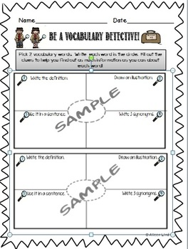 Vocabulary Detective Graphic Organizer