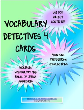 Vocabulary Detectives Task Cards 4 Pronouns, Prepositions, Conjunctions
