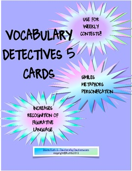 Vocabulary Detectives Task Cards 5 Similes, Metaphors and Personification