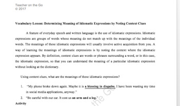 Vocabulary: Determining Meaning of Idiomatic Expressions by Noting Context