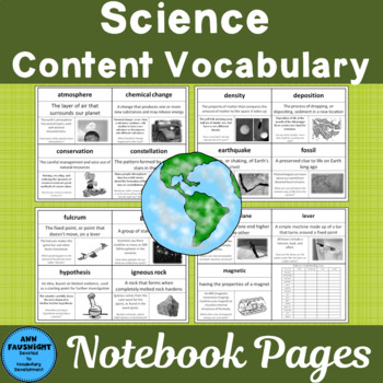 Vocabulary Development 30 Core Content Words Science Grade 4 Set 1 Color