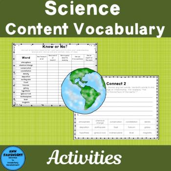 Science Content Vocabulary Grade 4 Set 1 Color
