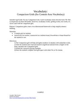 Tale of Despereaux- Vocabulary Comparison Grid