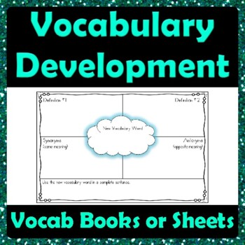Vocabulary development graphic organizer definitions for Synonym modell