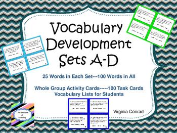 Vocabulary Development Task Cards:  Sets A-D