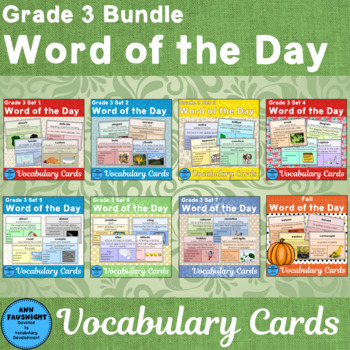 Vocabulary Development Word of the Day Combo A Sets 1 - 3 Third Grade