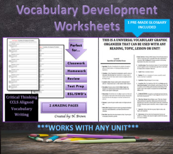 Vocabulary Development Worksheets