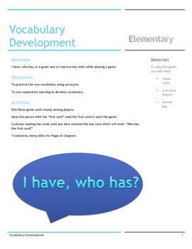 Vocabulary Development for Middle Elementary-game and task