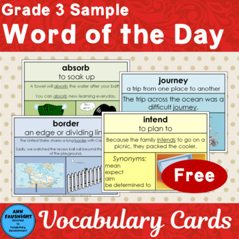Word of the Day Vocabulary Cards Free Sample