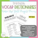 Vocabulary Dictionary - Editable Booklet