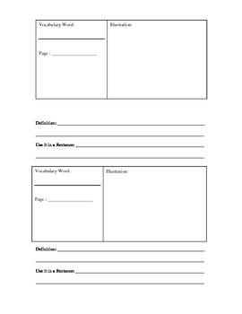 Vocabulary Dictionary Worksheet