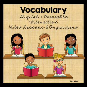 This packet contains 31 organizers in printable and Google Slides versions with video companions going over definitions and examples of for 19 vocabulary skills: