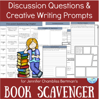 """Vocabulary, Discussion Questions, & Writing Prompts for """"Book Scavenger"""""""