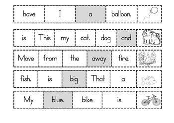 Vocabulary Dolch Pre Primer words sentence makers, word hunts, flashcards & more