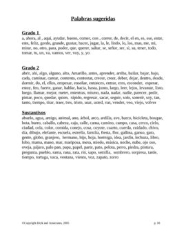 Vocabulary:  Dolch Word Sentences (English and Spanish)