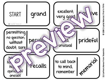 Vocabulary Dominoes CENTER - Reading Street Grade 4 Unit 1
