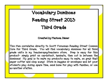 Vocabulary Dominoes - Reading Street 2013 - 3rd Grade - Unit 4