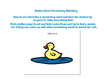 Vocabulary Duck: Thematic Unit