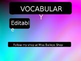 Vocabulary *Editable*