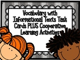 Vocabulary Embedded in Informational Text Task Cards PLUS Kagan Activities