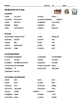 Spanish Vocabulary House and Furniture / En La Casa (with key)