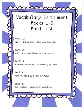 Vocabulary Enrichment Activities