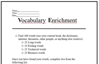 Vocabulary Enrichment Activity for Any Unit of Study