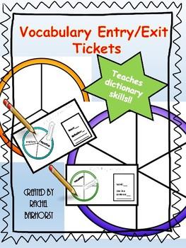 Vocabulary Entry/Exit Tickets - Dictionary Skills