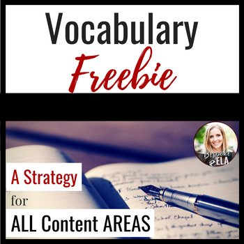 FREEBIE-- Vocabulary Entry Instructions:  A Strategy for ALL CONTENT AREAS