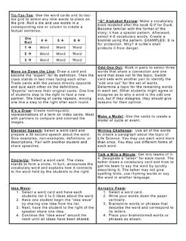 Vocabulary Envelope Foldable