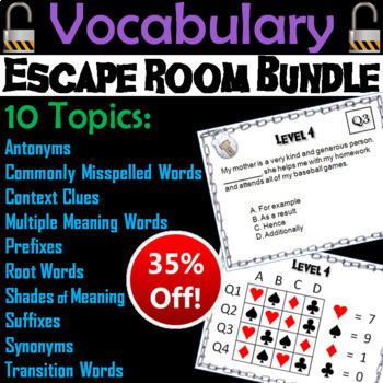 Vocabulary Escape Room ELA: Context Clues, Analogies, Synonyms and Antonyms, etc