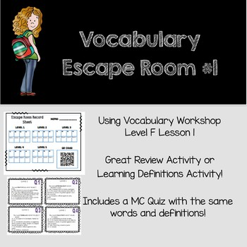 Vocabulary Escape Room- Vocabulary Workshop Level F, Lesson 1