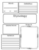 Vocabulary Etymology Word Origin Graphic Organizer