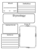 Vocabulary Etymology Word Origin Graphic Organizer