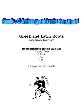Vocabulary Exercise: Greek and Latin Roots - Actions Speak Louder