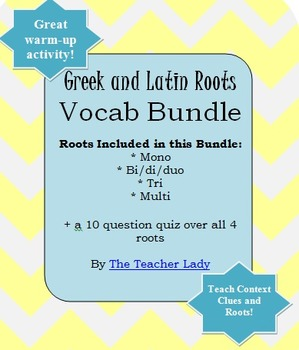 Vocabulary Exercise: Greek and Latin Roots - Numbers