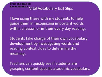 Vocabulary Exit Slips; scaffolded