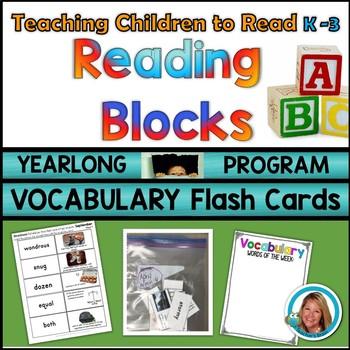 #BusyAsABee Vocabulary FLASH CARDS Kindergarten - 3rd YEARLONG Reading Blocks