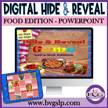Vocabulary FOOD Edition Hide and Reveal Digital Game - Teletherapy